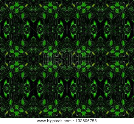 Green almonds. Oriental pattern. In the picture on the dark background are shown green almonds with oriental patterns.