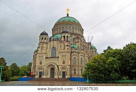 Naval cathedral of Saint Nicholas in Kronstadt, view from the main entrance, near St. Petersburg, Russia