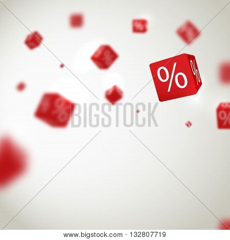 3D red discount boxes dice for store market and shop. Sale promotional concept.