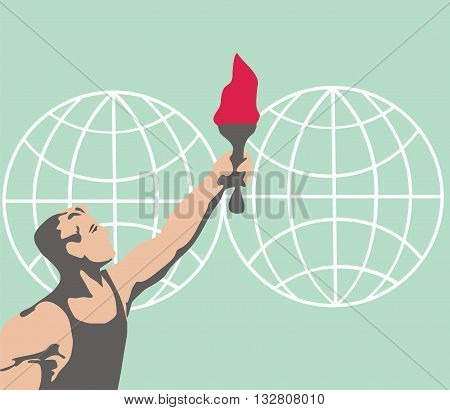 The man with the torch in the background of the globe hemispheres. Torch travels around the world. Champion vector. Sport Games. Vector. Sports Fire vector.