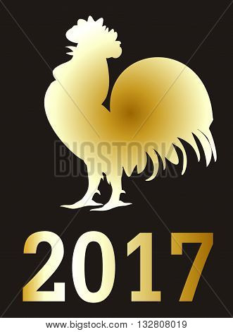 2017 Fire Rooster. The symbol of the rooster 2017 Chinese horoscope. Fiery rooster on a black background.