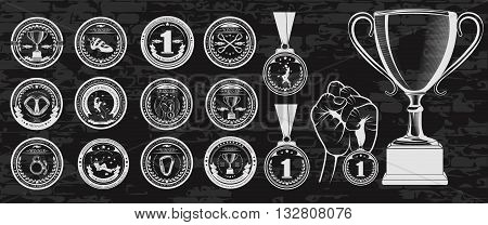Vector set of logos medals for winners Champions and finalists of the championship on sport climbing. Vector symbol of victory the Cup for ceremony and hand with the medal.