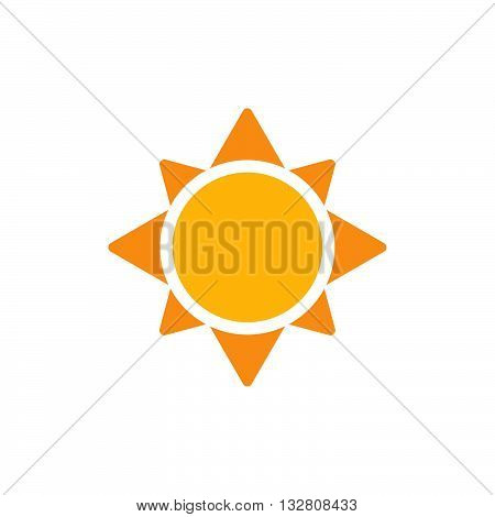 Sun flat icon. Yellow sun. Vector sun