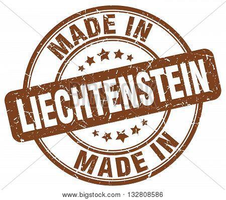 made in Liechtenstein brown round vintage stamp.Liechtenstein stamp.Liechtenstein seal.Liechtenstein tag.Liechtenstein.Liechtenstein sign.Liechtenstein.Liechtenstein label.stamp.made.in.made in.