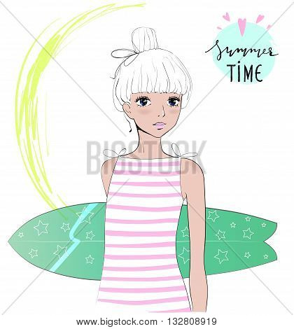 Beautiful surfer girl with surfboard. Vector Illustration print. Surfer girl in the Beach. Vacation summer card