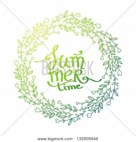 green Summer Lettering, green Floral wrath Background.