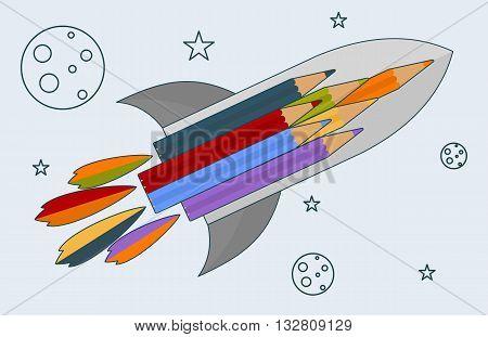 Color Pencils And A Rocket