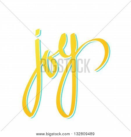 yellow word joy lettering on white background