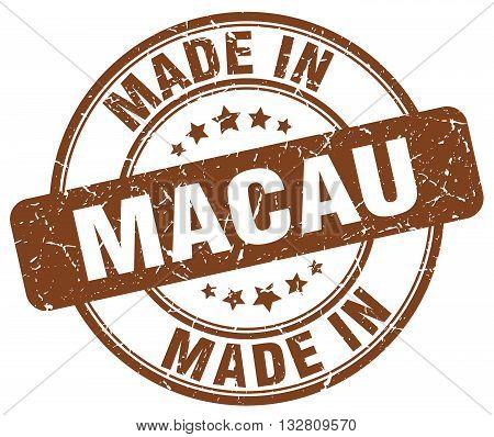 made in Macau brown round vintage stamp.Macau stamp.Macau seal.Macau tag.Macau.Macau sign.Macau.Macau label.stamp.made.in.made in.
