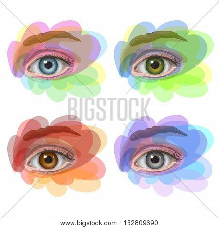 Oval-shaped eyes with blue, green, brown and gray irides. Multicolored pattern for different seasons and different eye color