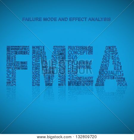 Failure mode and effect analysis typography background. Blue background with main title FMEA filled by other words related with failure mode and effect analysis method. Vector illustration