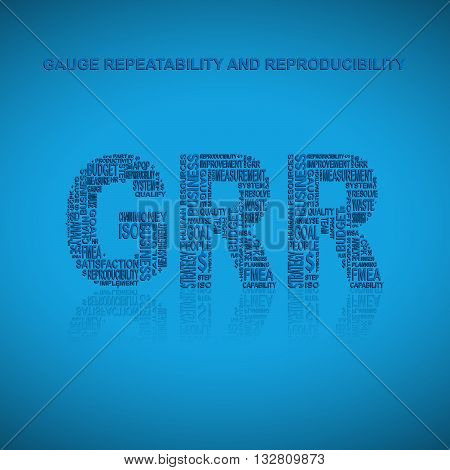 Gauge repeatability and reproducibility typography background. Blue background with main title GRR filled by other words related with gauge repeatability and reproducibility method. Vector illustration