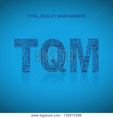 Total quality management typography background. Blue background with main title TQM filled by other words related with total quality management method. Vector illustration