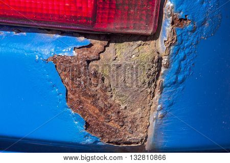 Extreme Closeup Of Severe Rust Corrosion On Vehicle