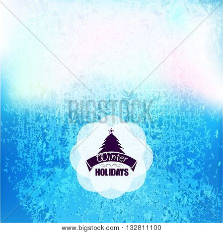 Vector frozen frost background texture. Glass snow ice cold and fresh background. Winter with xmas tree.