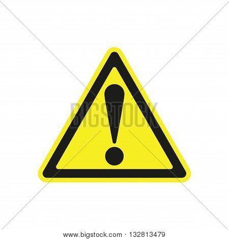 Warning sign flat icon isolated on white background
