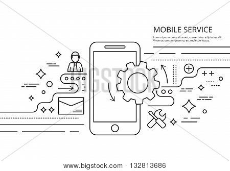 Thin line vector banner for mobile service. Premium quality illustration