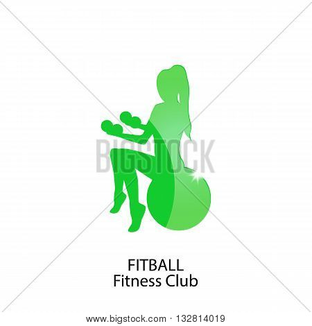 icon fitness and fitball club on a white background