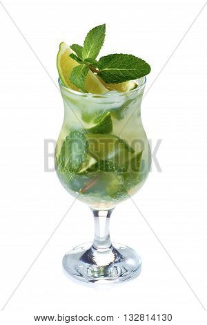Mojito coctail with lime and mint in glass with waterdrops isolated on white background.