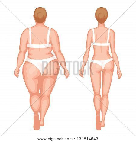 Obese woman and slender woman in white underwear. Back view. Healthy lifestyle and an unhealthy lifestyle concept