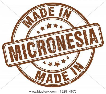 made in Micronesia brown round vintage stamp.Micronesia stamp.Micronesia seal.Micronesia tag.Micronesia.Micronesia sign.Micronesia.Micronesia label.stamp.made.in.made in.