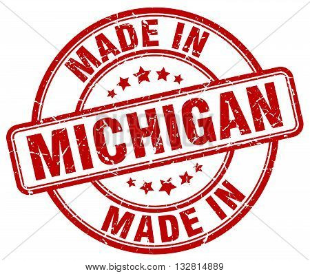 made in Michigan red round vintage stamp.Michigan stamp.Michigan seal.Michigan tag.Michigan.Michigan sign.Michigan.Michigan label.stamp.made.in.made in.