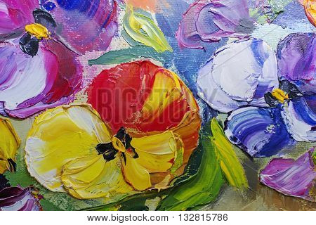 Texture Of Oil Paintings, Flowers, Painting Fragment Of Painted Color Image, Wallpaper And Backgroun