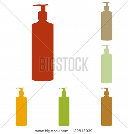 Gel, Foam Or Liquid Soap. Dispenser Pump Plastic Bottle silhouette. Colorful autumn set of icons.