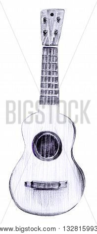 A pencil drawing of a vintage tiple guitar on white background
