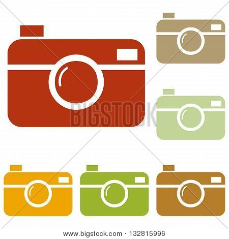 Digital photo camera sign. Colorful autumn set of icons.