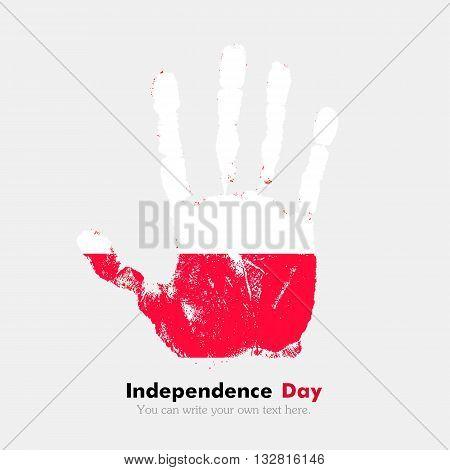 Hand print, which bears the Flag of Poland. Independence Day. Grunge style. Grungy hand print with the flag. Hand print and five fingers. Used as an icon, card, greeting, printed materials.