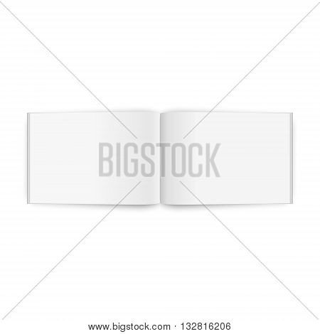 Blank opened magazine A4, isolated on a white background. Vector EPS10 illustration.