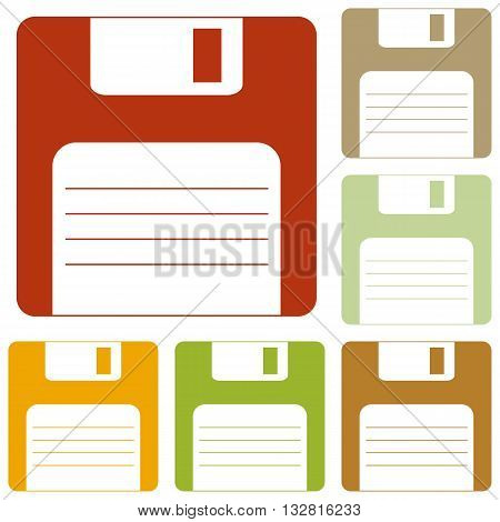 Floppy disk sign. Colorful autumn set of icons.