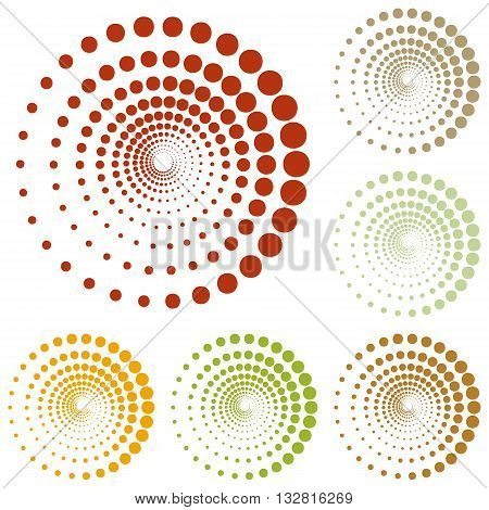Abstract technology circles sign. Colorful autumn set of icons.