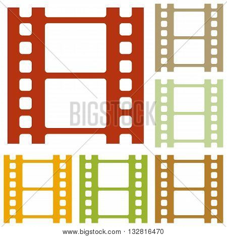 Reel of film sign. Colorful autumn set of icons.
