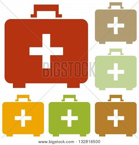 Medical First aid box sign. Colorful autumn set of icons.
