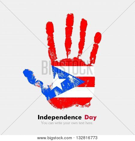 Hand print, which bears the Flag of Puerto Rico. Independence Day. Grunge style. Grungy hand print with the flag. Hand print and five fingers. Used as an icon, card, greeting, printed materials.