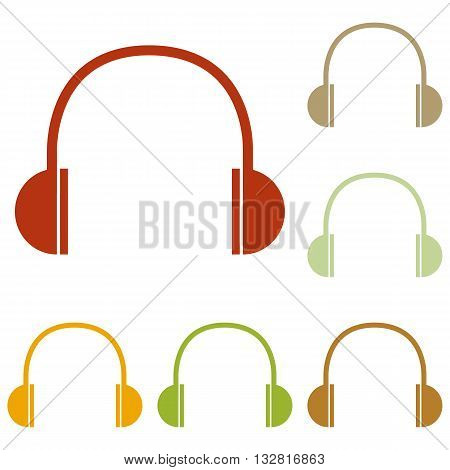 Headphones sign illustration. Colorful autumn set of icons.