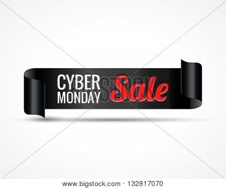 Cyber sale. Black realistic curved paper ribbon banner. Vector illustration.