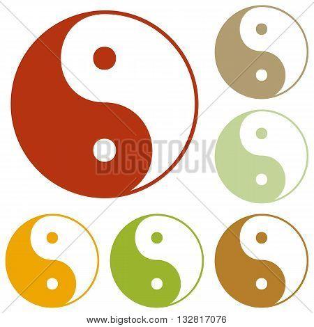 Ying yang symbol of harmony and balance. Colorful autumn set of icons.