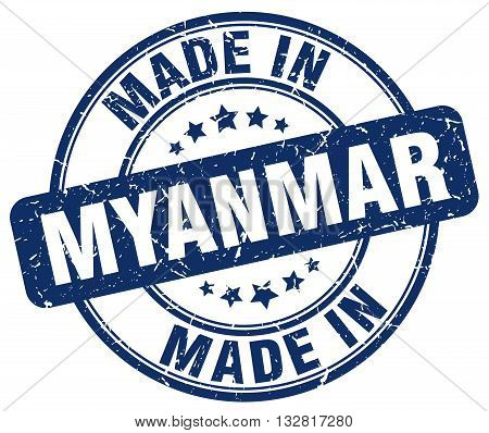 made in Myanmar blue round vintage stamp.Myanmar stamp.Myanmar seal.Myanmar tag.Myanmar.Myanmar sign.Myanmar.Myanmar label.stamp.made.in.made in.