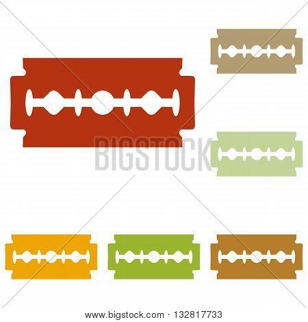 Razor blade sign. Colorful autumn set of icons.