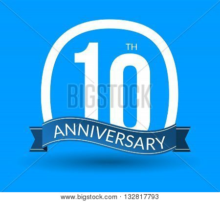 10 Anniversary numbers with ribbon. Flat origami style with long shadow. 10th anniversary Vector illustration.