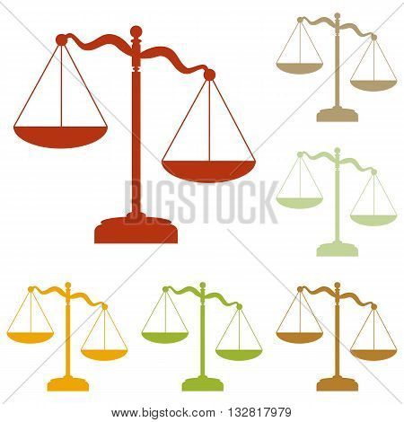 Scales of Justice sign. Colorful autumn set of icons.