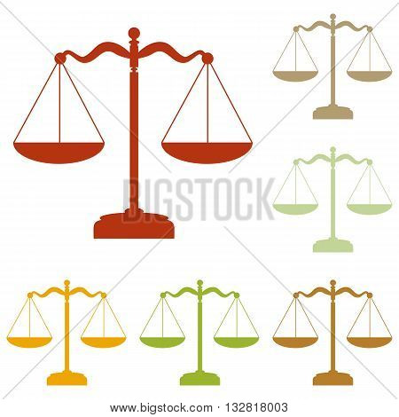 Scales balance sign. Colorful autumn set of icons.