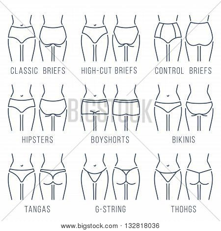 Female panties types flat thin line vector icons set. Woman underwear fashion styles collection. Girl body front back view. Clothes infographic design elements. Classic briefs, bikini, string, thong