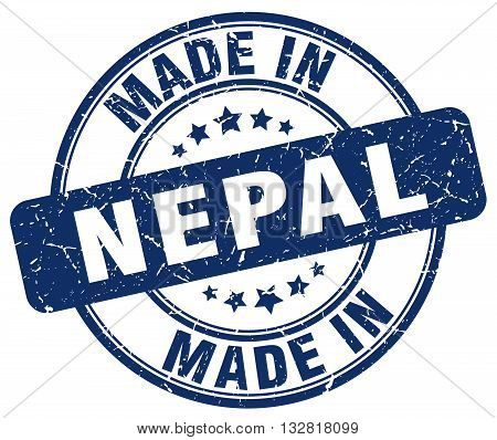 made in Nepal blue round vintage stamp.Nepal stamp.Nepal seal.Nepal tag.Nepal.Nepal sign.Nepal.Nepal label.stamp.made.in.made in.