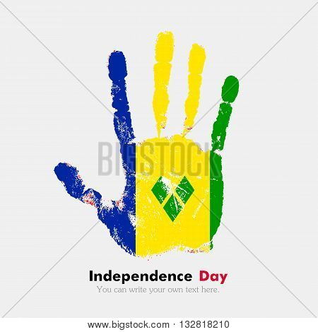 Hand print, which bears the Flag of Saint Vincent and the Grenadines. Independence Day. Grunge style. Grungy hand print with the flag. Hand print and five fingers. Used as an icon, card, greeting, printed materials.