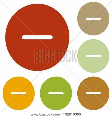 Negative symbol illustration. Minus sign. Colorful autumn set of icons.