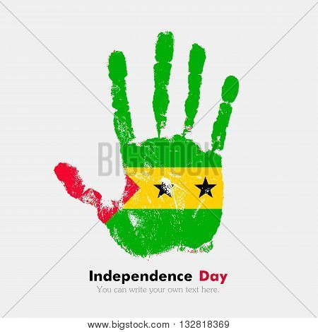 Hand print, which bears the Flag of Sao Tome and Principe. Independence Day. Grunge style. Grungy hand print with the flag. Hand print and five fingers. Used as an icon, card, greeting, printed materials.